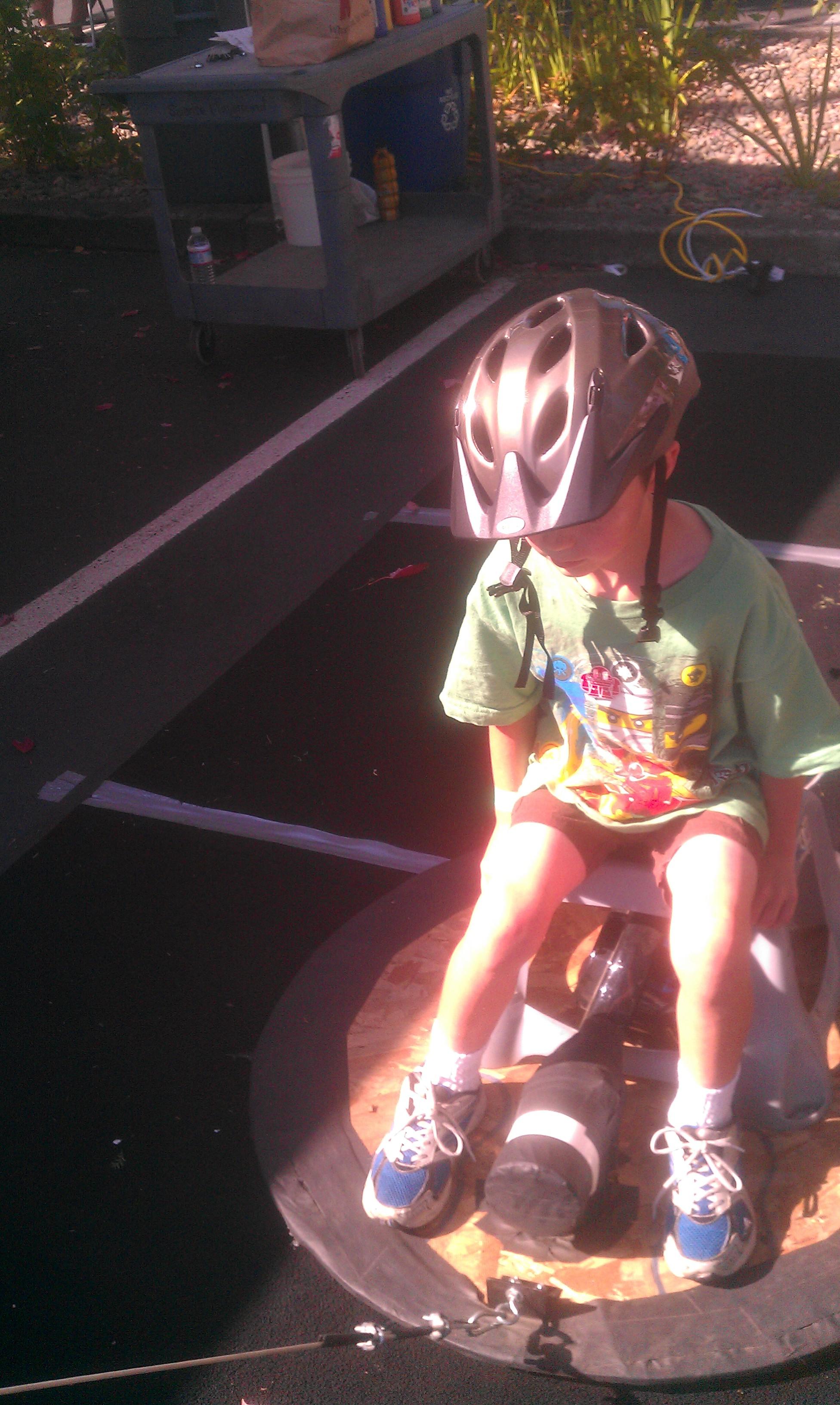 Owen riding the hovercraft