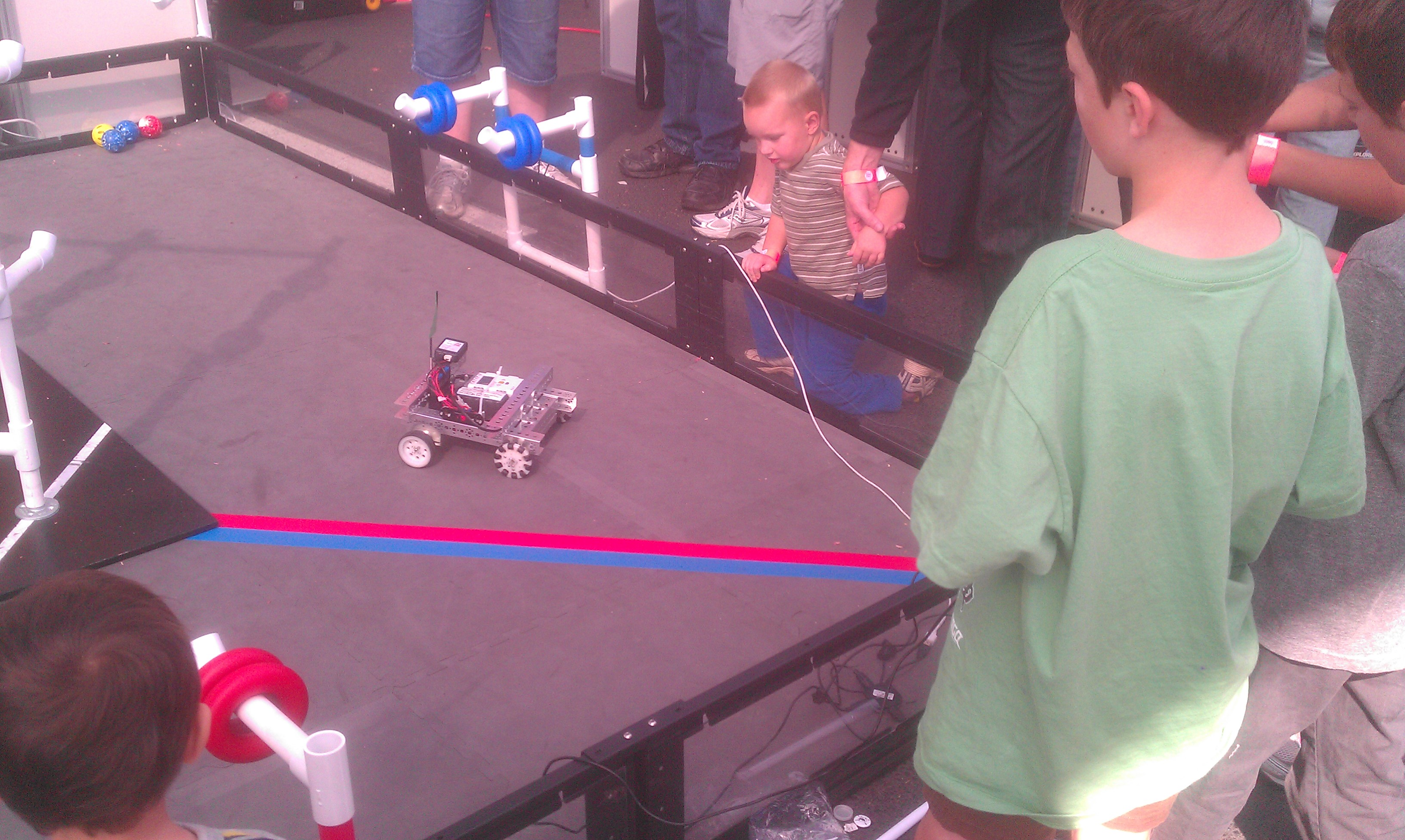Owen driving a robot