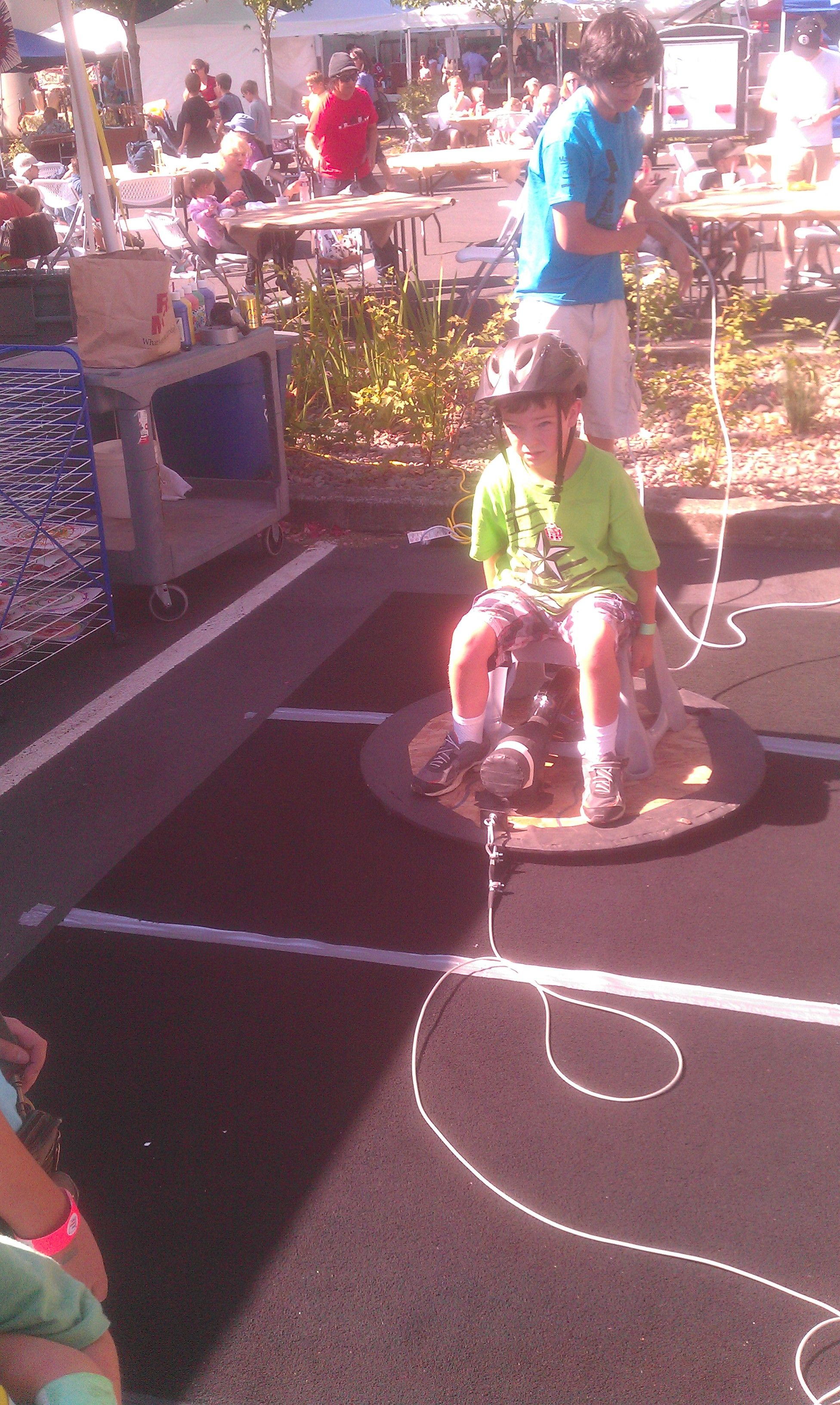 Andrew riding a hovercraft